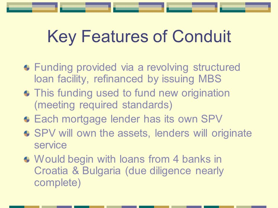 Developing the Conduit USAID: grants for conceptualization since 2003 IFC, KfW, and EBRD: now may provide further grant funding and technical support Several large international banks expressed interest in (1) providing the liquidity facility (structured loan facility) & (2) organizing securitization of bonds backed by SEE mortgages Banks from Italy, France, Japan, Netherlands, U.S.
