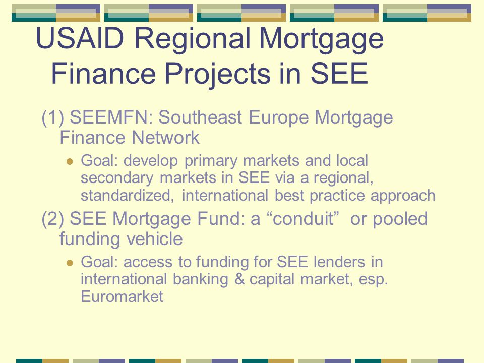 Southeast Europe Mortgage Finance Network (SEEMFN) Initiated with SEE Regional Conference: January 2003, Sofia; participants from SEE, CEE, Germany, U.K., U.S., USAID, EBRD, and IFC SEEMFN Working Group.