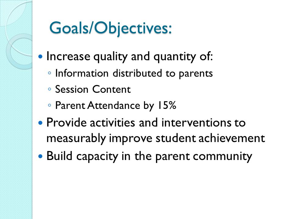 Review of Initiatives Student Achievement ◦ Class Size Reduction – Teacher Salaries = at least 85% ◦ Interventionists ◦ Student Supplies/Software (MAP) Teacher Quality –Professional Development Parent Involvement ◦ Involving parents in school activities ◦ Improving parenting skills ◦ Supporting Student Achievement