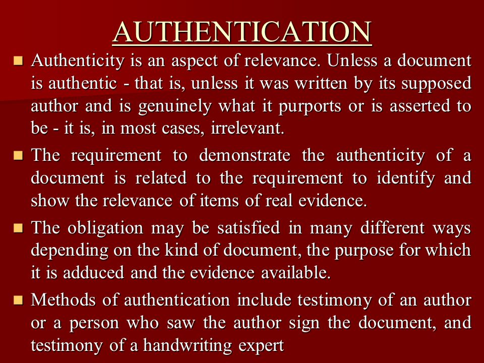 Authenticity is not the only aspect of relevance.