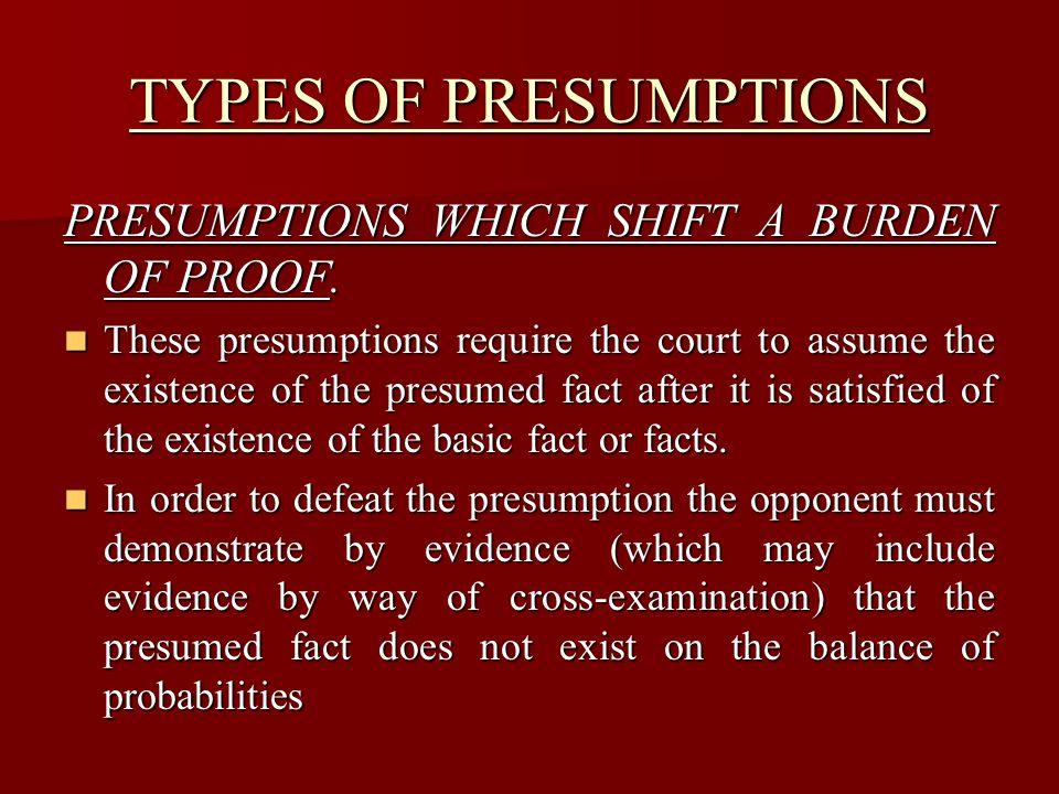 FACTORS FORMING PRESUMPTION PROBABILITY.PROBABILITY.