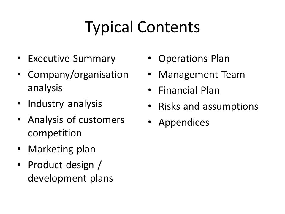 The Structure of the Plan ….