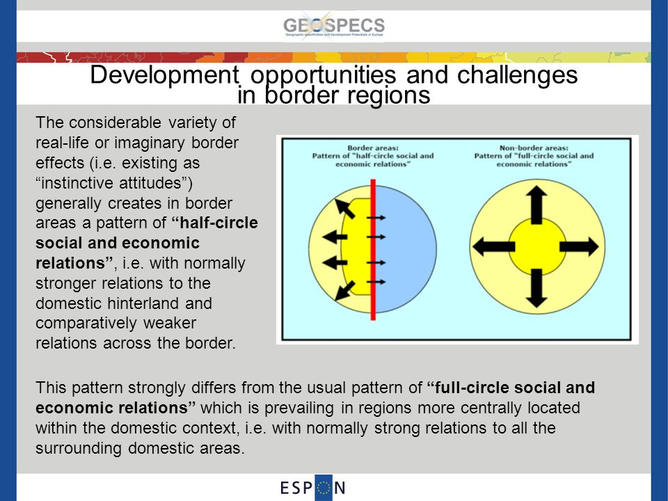 Development opportunities and challenges in border regions Due to the specific context settings existing along each border, it is evident that the significance of border-regional and cross-border relations / interactions differs considerably across Europe.
