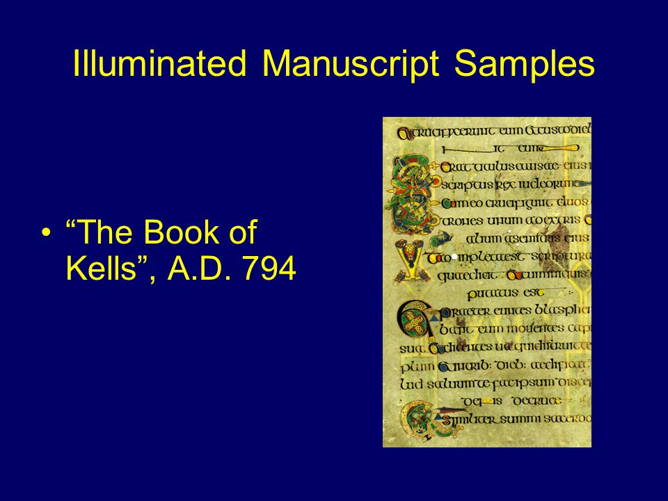 Illuminated Manuscript Samples The Book of Durrow , A.D. 680