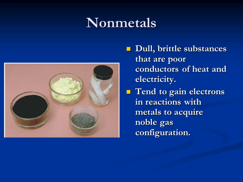 Nonmetals Substances containing only nonmetals are molecular compounds.