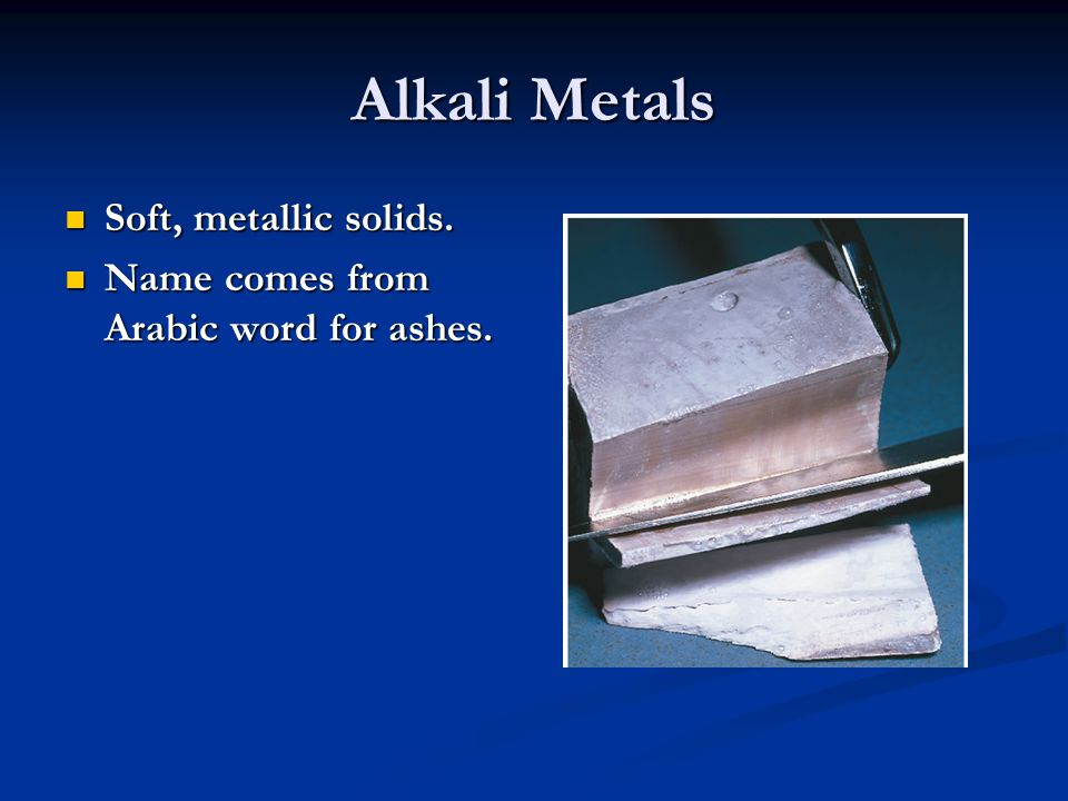 Alkali Metals Found only as compounds in nature.Found only as compounds in nature.