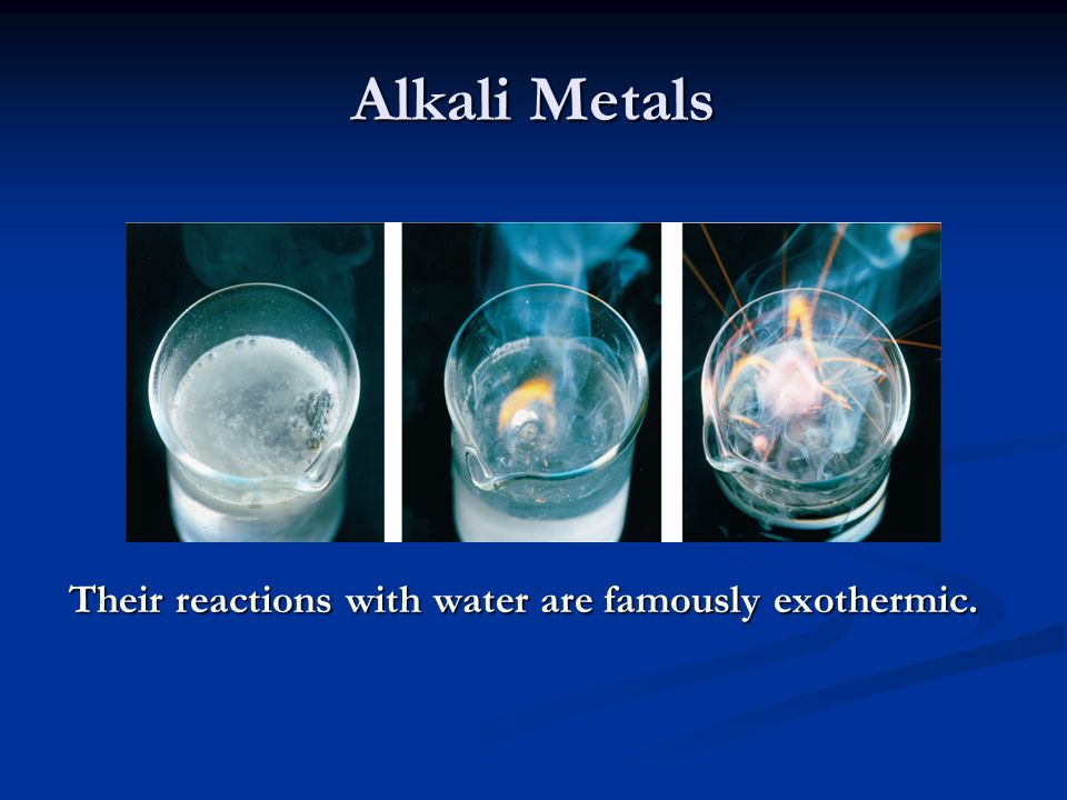 Alkali Metals Alkali metals (except Li) react with oxygen to form peroxides.