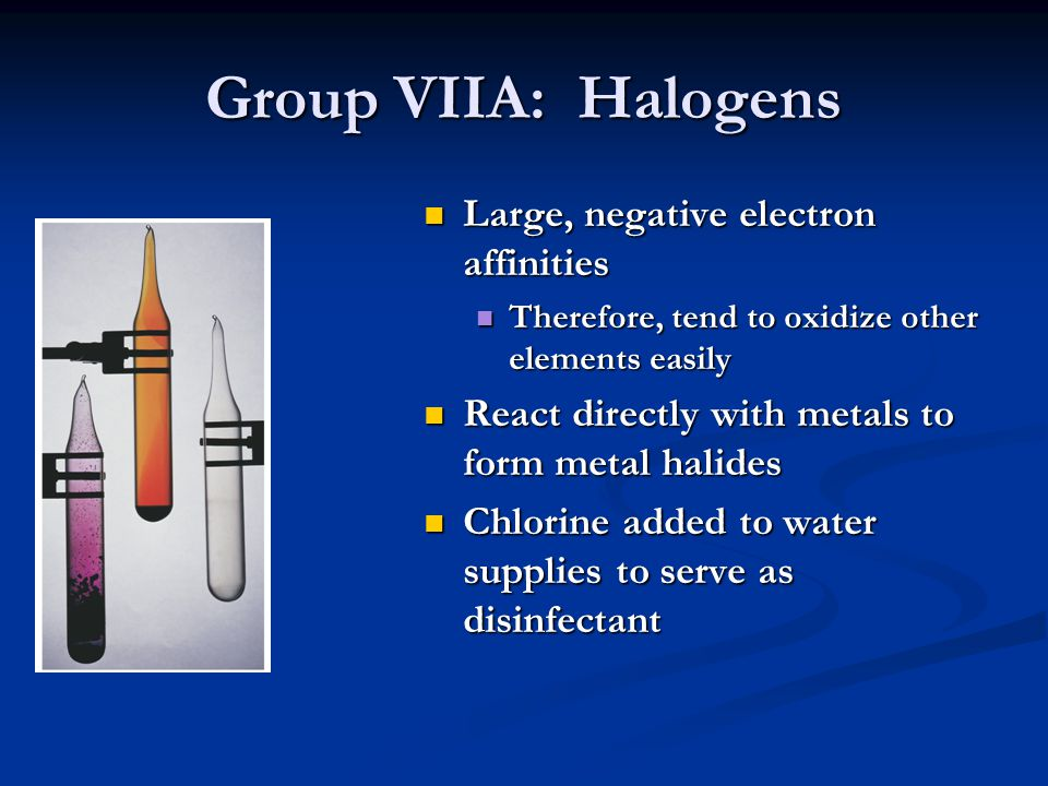 Group VIIIA: Noble Gases Astronomical ionization energies Positive electron affinities Therefore, relatively unreactive Monatomic gases