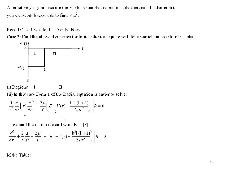 18 To solve this define: and Then the radial equation becomes: The solution is: