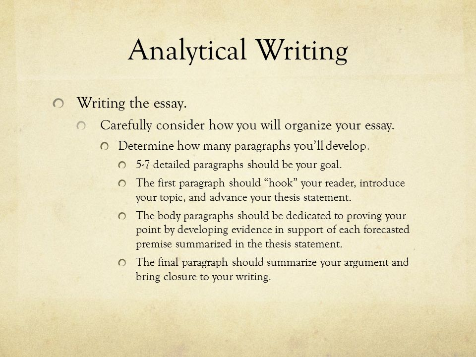 Analytical Writing Writing the essay.Review and study a writing handbook.