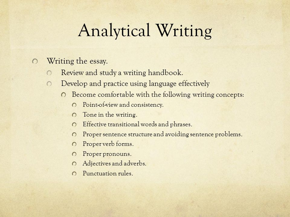 Analytical Writing The Issue Essay.Entails constructing your own argument on a topic.