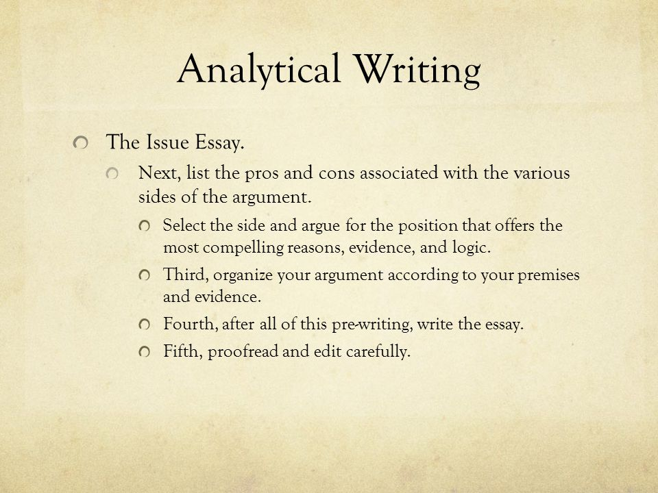Analytical Writing The Argument Essay.Evaluate and assess someone else's argument.