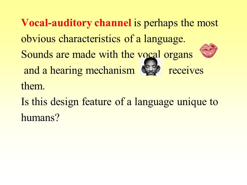 Even in a human communication vocal- auditory channel is not so all-important since language can be transferred without loss to visual symbols (sign language, writing, Braille).