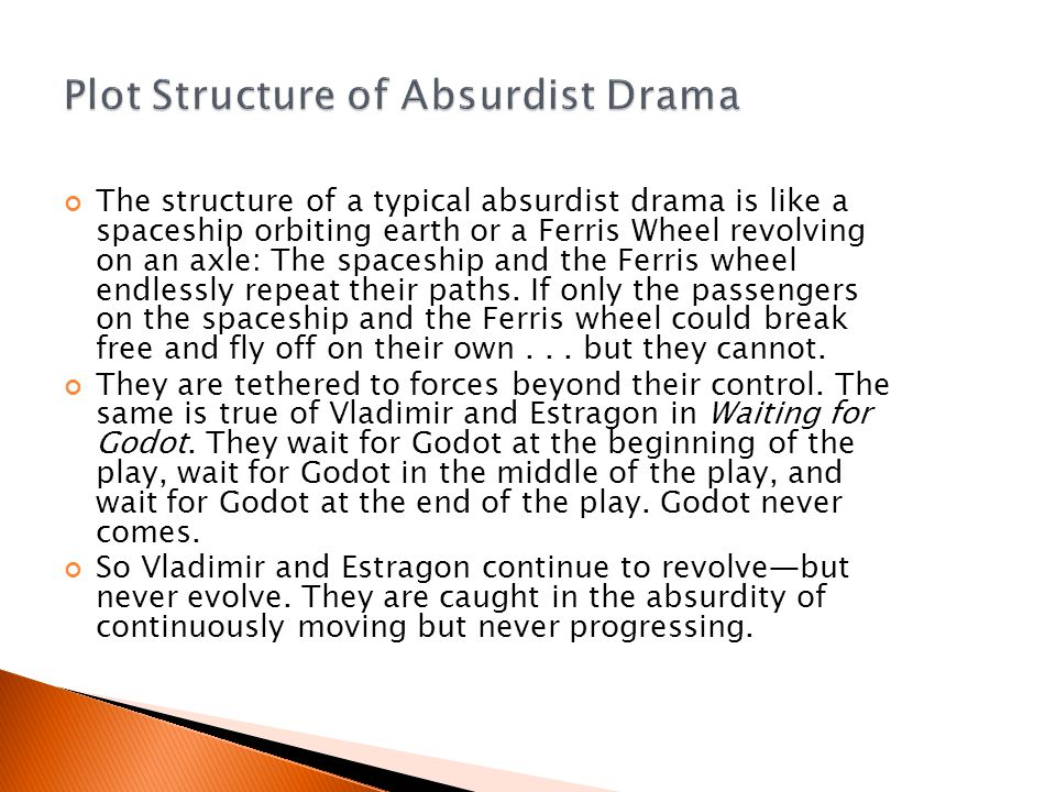 The structure of a typical absurdist drama is like a spaceship orbiting earth or a Ferris Wheel revolving on an axle: The spaceship and the Ferris wheel endlessly repeat their paths.