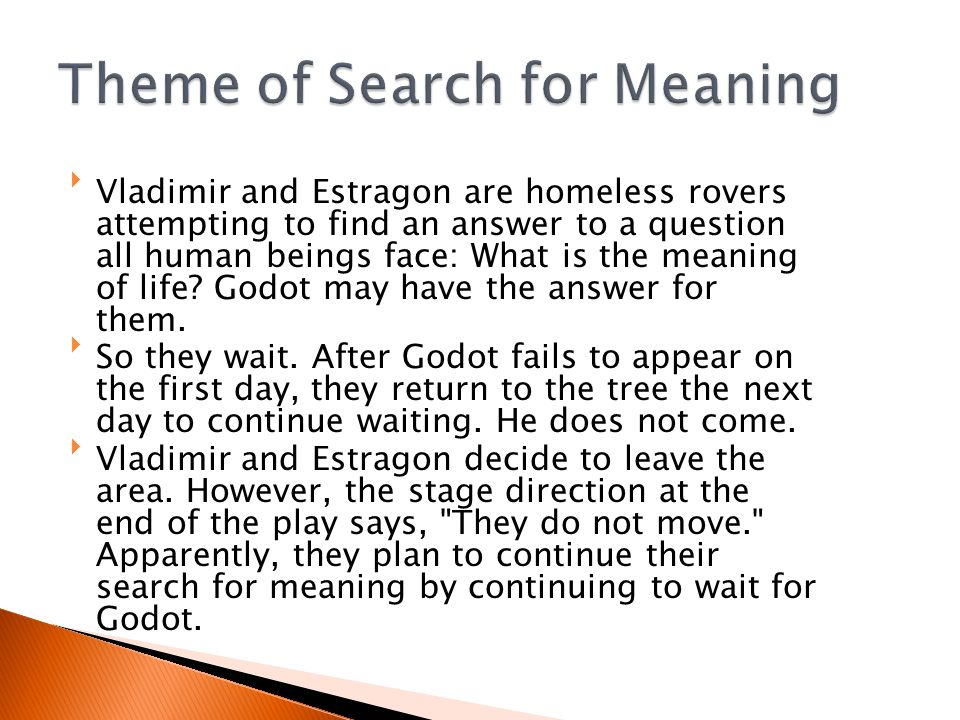 Vladimir and Estragon are homeless rovers attempting to find an answer to a question all human beings face: What is the meaning of life.