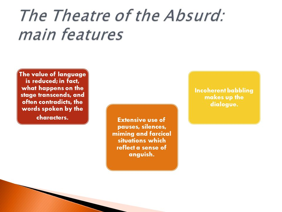 The value of language is reduced; in fact, what happens on the stage transcends, and often contradicts, the words spoken by the characters.