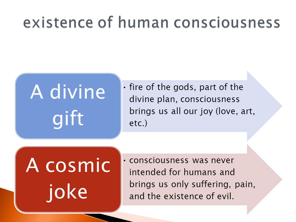 fire of the gods, part of the divine plan, consciousness brings us all our joy (love, art, etc.) A divine gift consciousness was never intended for humans and brings us only suffering, pain, and the existence of evil.