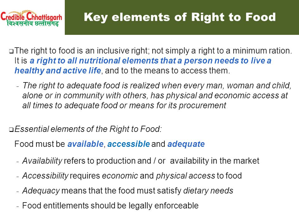  The right to food is different from food security.