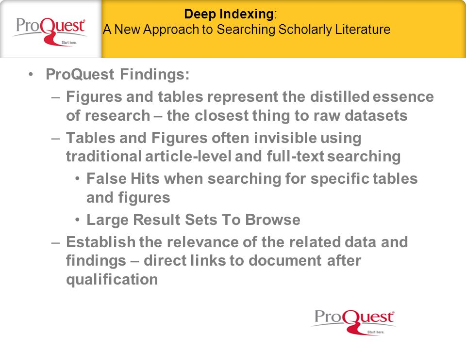 –Identification of tables and figures (images, charts, maps, etc.) found within a document –Extraction of critical data and information within and surrounding each table or figure (including full caption) to provide indexing What is Deep Indexing.