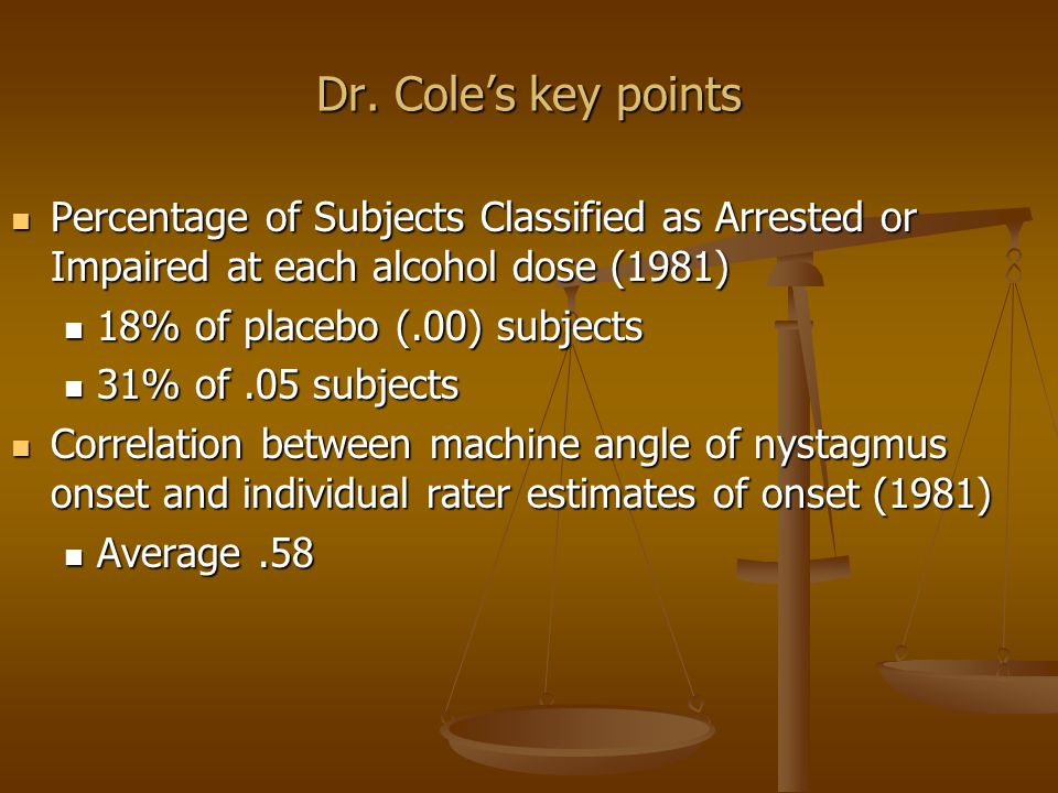 Key points in Dr.Cole's testimony in the transcript No norms OLS No norms OLS e.g.