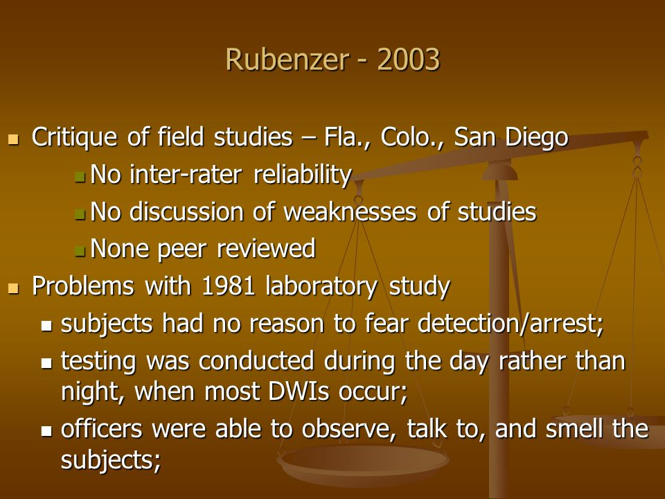 Rubenzer - 2003 For the NHTSA study, subjects were recruited from the state employment office and are not representative of the general population, and no attempt was made to justify this source as representative of DWI stoppees; and For the NHTSA study, subjects were recruited from the state employment office and are not representative of the general population, and no attempt was made to justify this source as representative of DWI stoppees; and The same subjects were used to create the cutoff scores for the test and to evaluate the accuracy of these cutoff scores The same subjects were used to create the cutoff scores for the test and to evaluate the accuracy of these cutoff scores