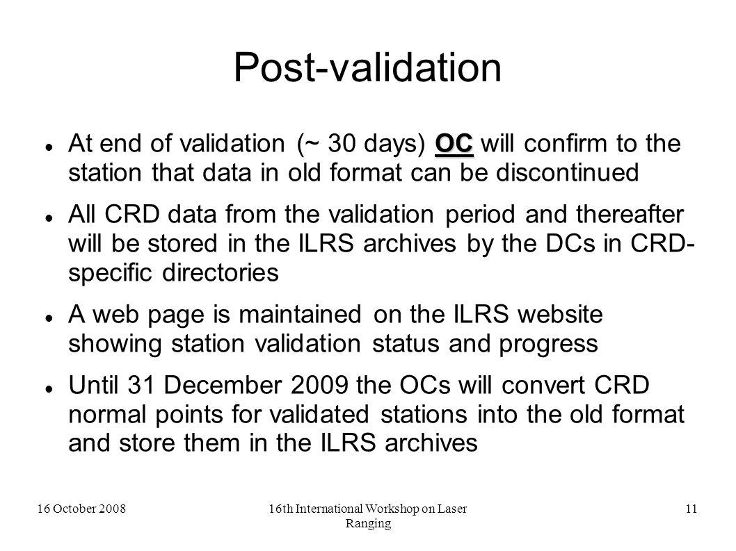 16 October 200816th International Workshop on Laser Ranging 12 CRD Implementation Web Page