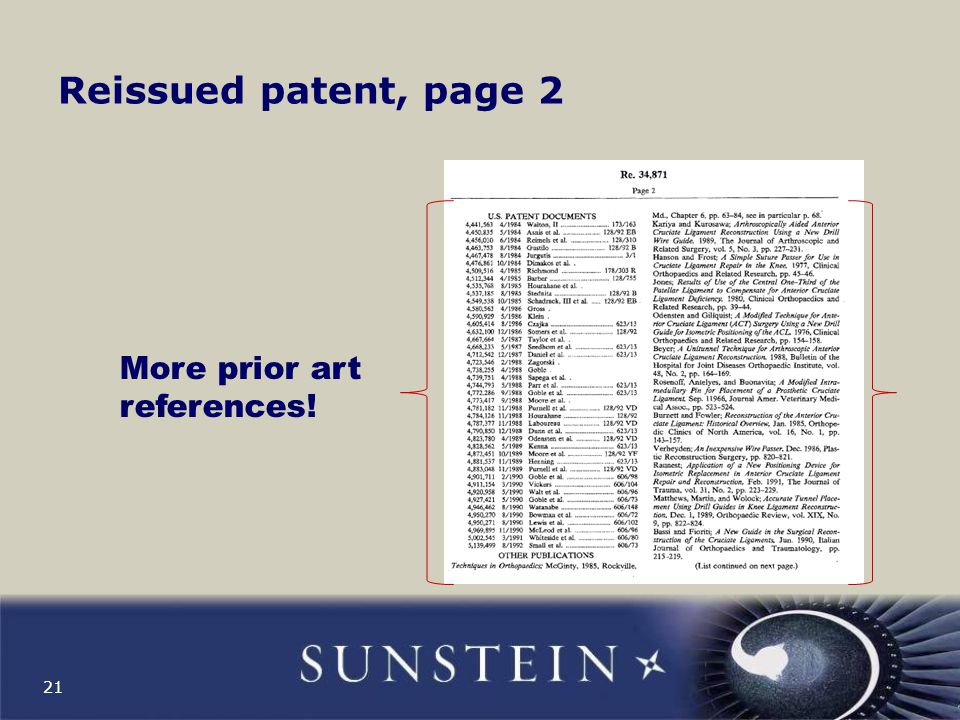 Reissued patent, page 3 22 More prior art references!