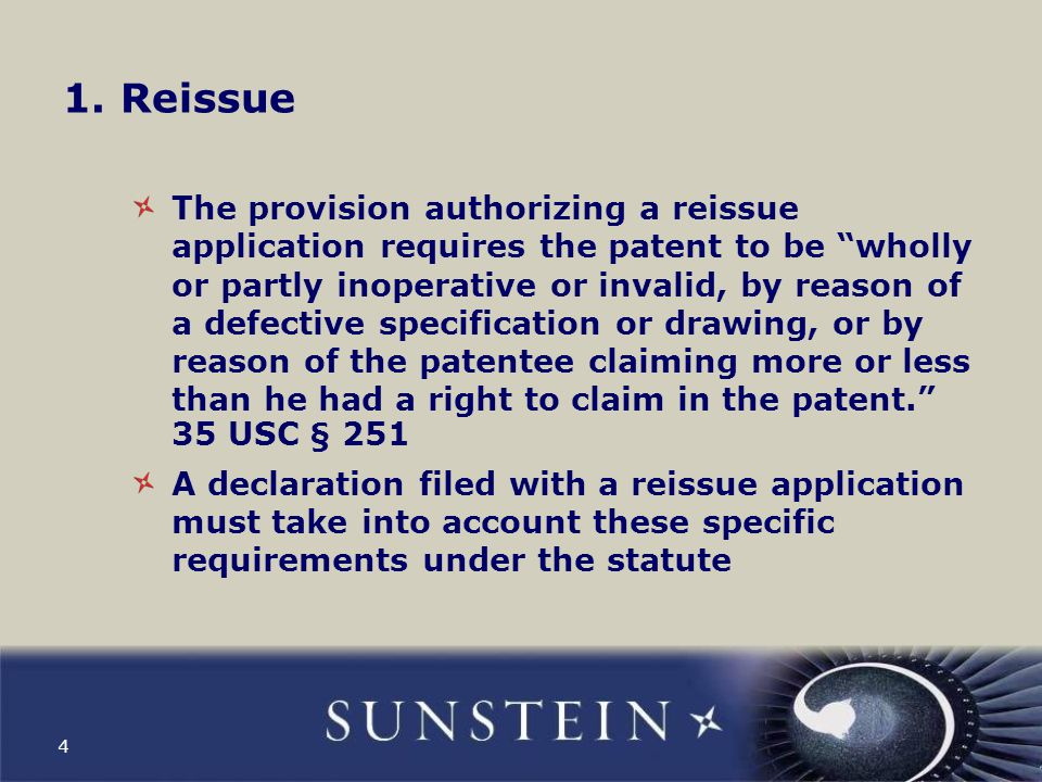 The declaration must recite that the patent is wholly or partly inoperative or invalid Attorney failure to appreciate the full scope of the invention qualifies as an error correctable through reissue.