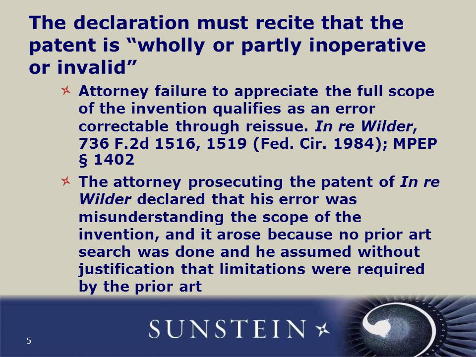 Where this comes up In a case of claiming too much or too little, the declaration filed with the reissue application will need to address the source of the error Therefore the declaration will probably need to specifically recite the attorney's failure (or other source of the error).