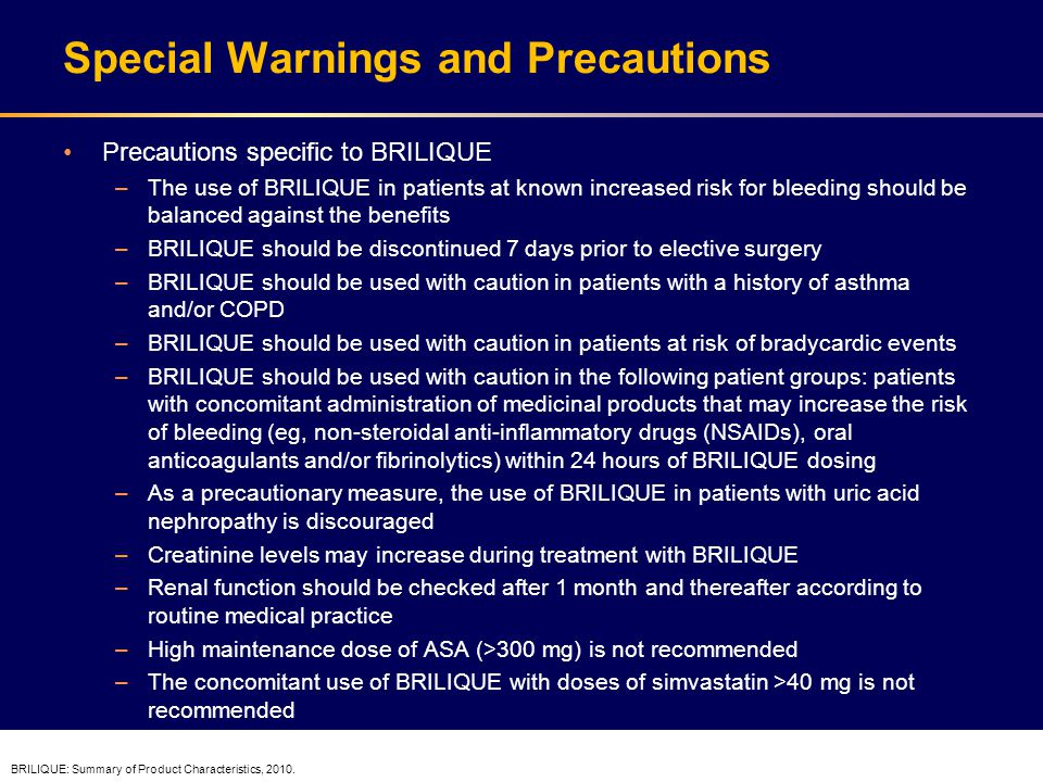 Dosing and Administration BRILIQUE treatment should be initiated with a single 180-mg loading dose (two 90-mg tablets) and then continued at 90 mg twice daily with concomitant low dose ASA Treatment with BRILIQUE is recommended for up to 12 months unless discontinuation is clinically indicated BRILIQUE can be administered with or without food Initial treatment: 180 mg Morning – Take one LOADING Continue treatment: 90 mg twice daily + Aspirin: 75–150 mg once daily MAINTENANCE Two 90-mg tablets Initiate BRILIQUE with a loading dose of aspirin.