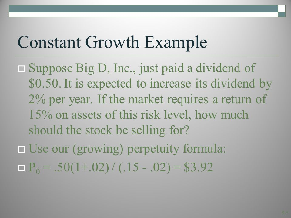 9-6 Case 3: Differential Growth  Assume that dividends will grow at different rates in the foreseeable future and then will grow at a constant rate thereafter.