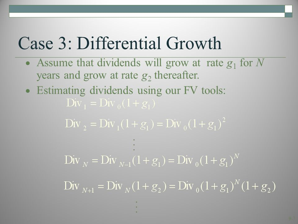 9-8 Case 3: Differential Growth We can value this as the sum of:  a T-year annuity growing at rate g 1  plus the discounted value of a perpetuity growing at rate g 2 that starts in year T+1