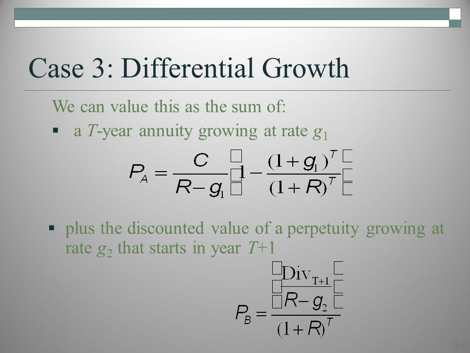 9-9 Case 3: Differential Growth Consolidating gives P 0 = P A + P B : Or, we can cash flow it out.