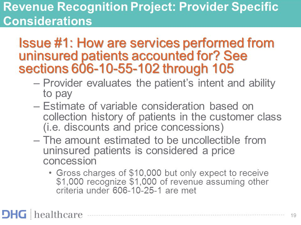 20 Financial Reporting - Presentation of Bad Debts Under current practice, ASU 2011-07 requires some healthcare providers to present bad debt as a deduction from patient service revenue Under the new standard, bad debts will be presented as an operating expense