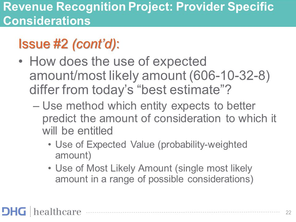 23 Other Healthcare Issues identified Identifying the performance obligation and recognition of refundable and non- refundable entrance fees for CCRC's Prepaid Health Services Accountable Care Organizations Contract acquisition costs