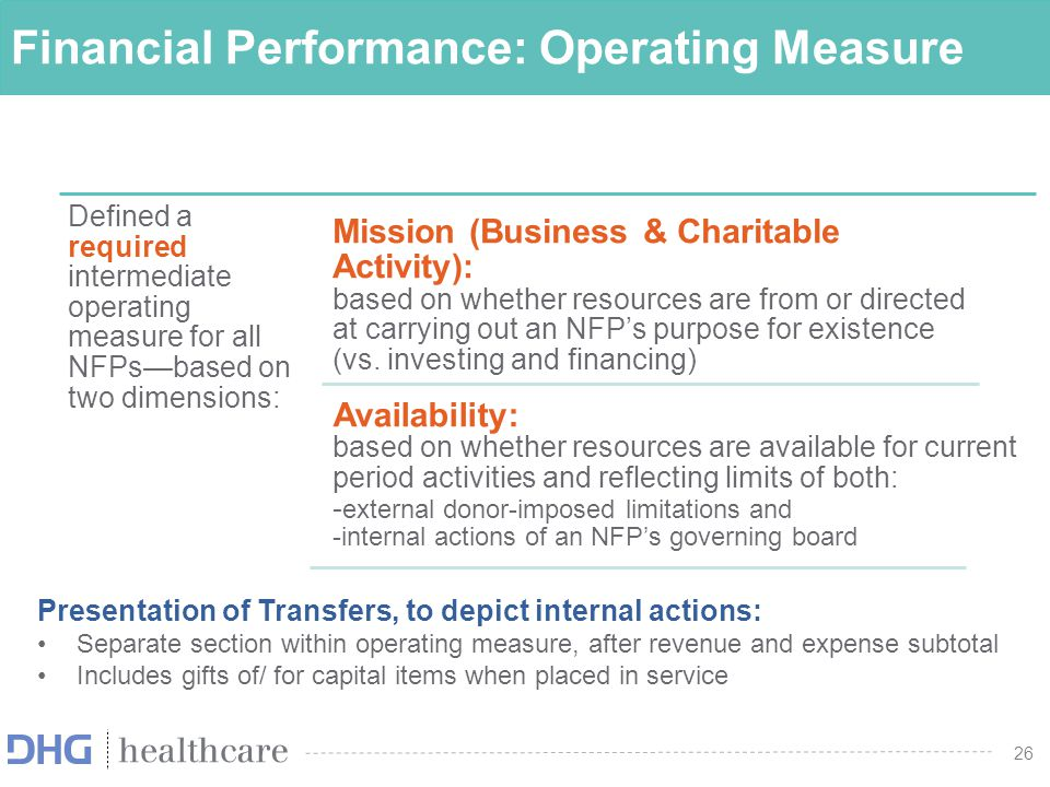 27 Operating Measure NFP business-oriented health care entities no longer required to present the performance indicator Remove req.