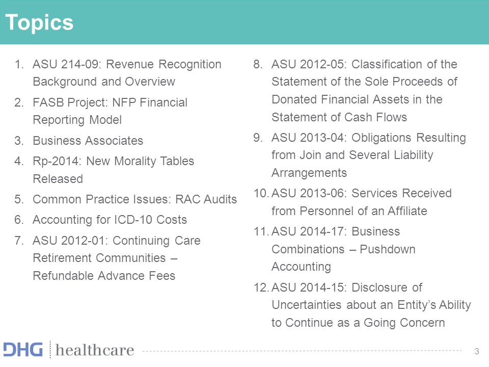 4 Discuss recent accounting standards as well as emerging practice issues related to healthcare entities 4