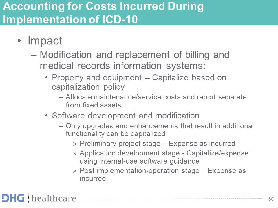 61 ASC 720-45-55 Illustration Internal-Use Software Implementation Costs Legend: a -Expense as incurred per ASC 720-45 b -Expense as incurred per ASC 350-40 c -Capitalize per ASC 350-40