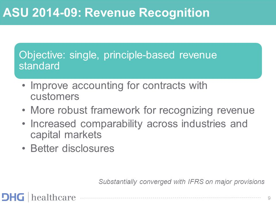 10 ASU 2014-09: Summary FASB created a new Topic 606 that will replace Topic 605 when this standard is adopted –ASU 2014-09 will supersede most industry-specific guidance Core principle is to recognize revenue to depict the transfer of promised goods or services to customers in an amount that reflects the consideration to which the entity expects to be entitled in exchange for those goods or services Guidance specifies the accounting for an individual contract with a customer; however, as a practical expedient, an entity may apply guidance to a portfolio of contracts (or performance obligations) with similar characteristics if the entity reasonably expects that the effects on the financial statements would not differ materially from applying guidance to individual contracts