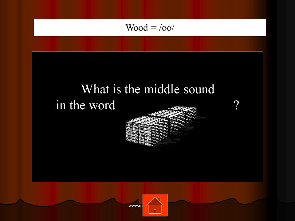 www.mrsziruolo.com What is the middle sound in the word ? Wood = /oo/
