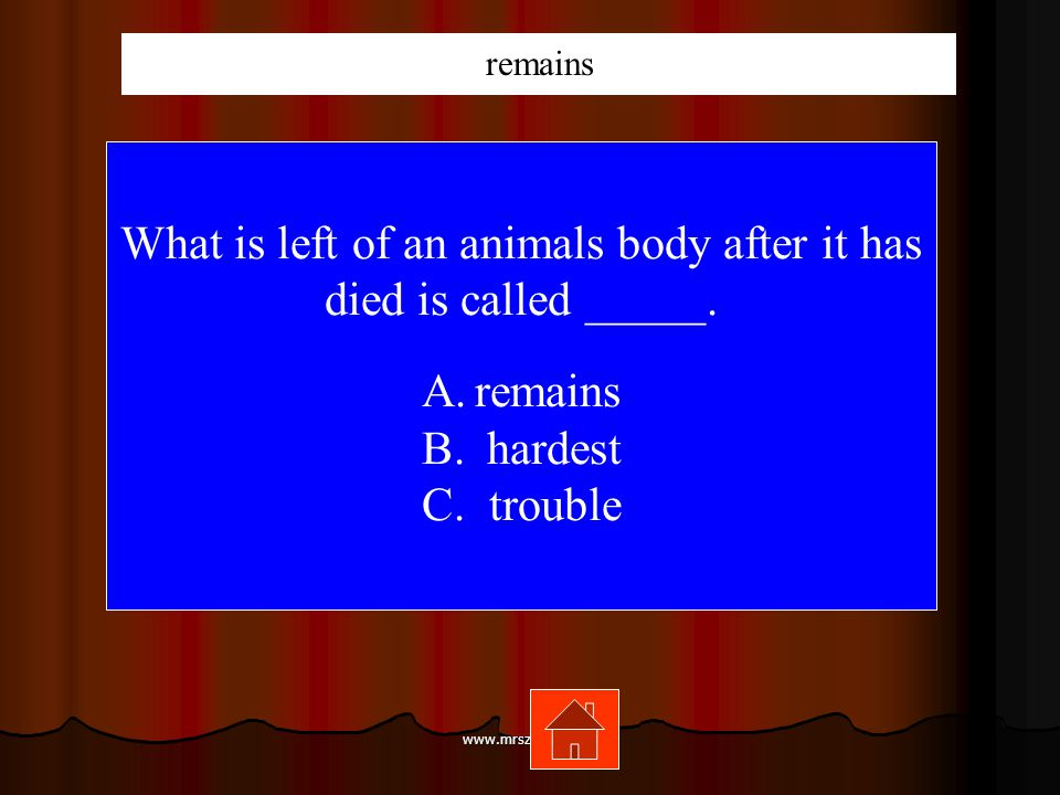 www.mrsziruolo.com What is left of an animals body after it has died is called _____.