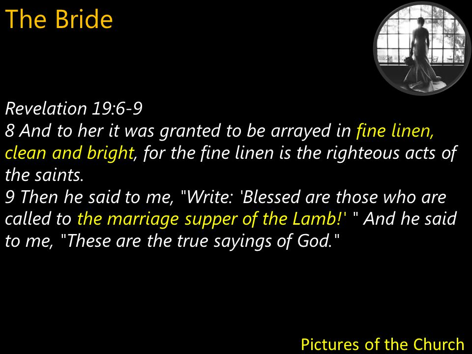 Revelation 22:17 the Spirit and the bride And the Spirit and the bride say, Come! Pictures of the Church The Bride