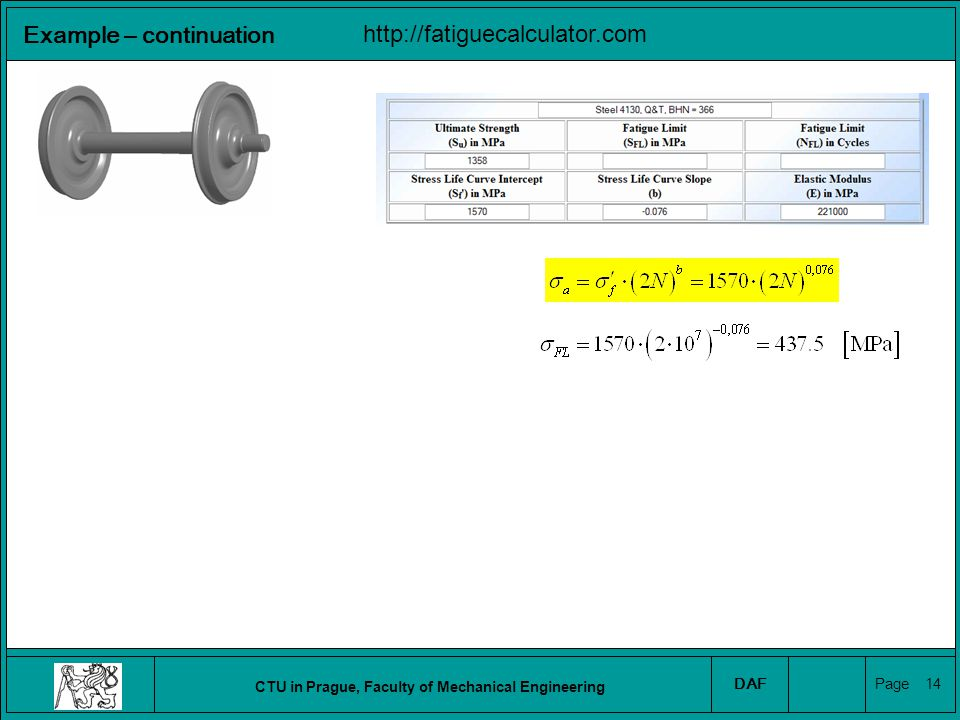 CTU in Prague, Faculty of Mechanical Engineering DAF Page 15 Example – continuation http://fatiguecalculator.com