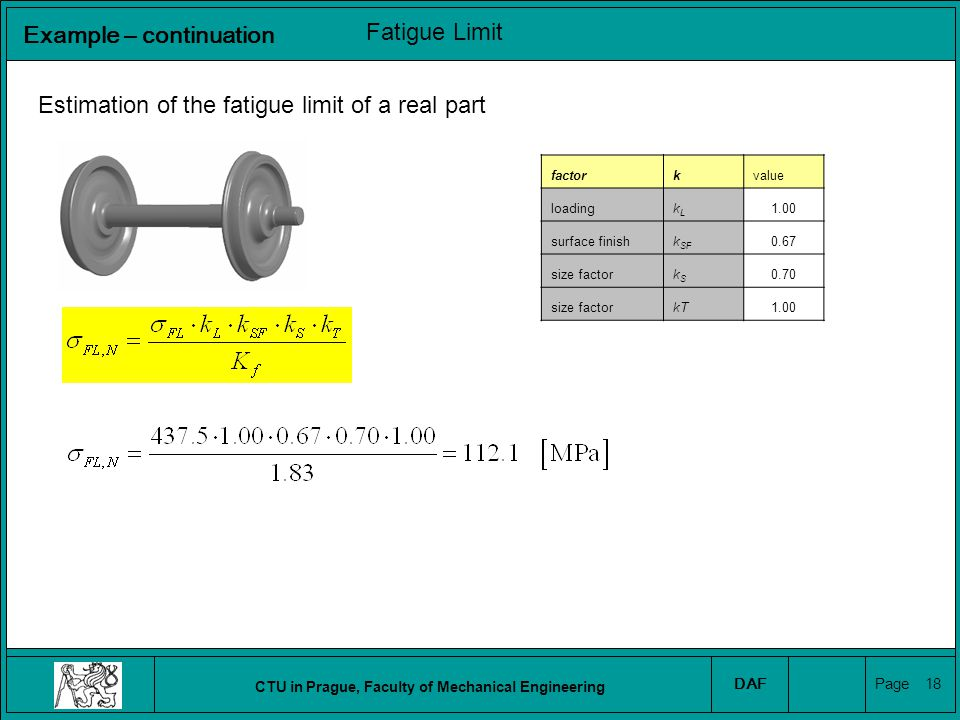 CTU in Prague, Faculty of Mechanical Engineering DAF Page 19 Estimation of the nominal stress amplitude Experimental strain amplitude measurement (in the point A): A Fatigue loading Example – continuation