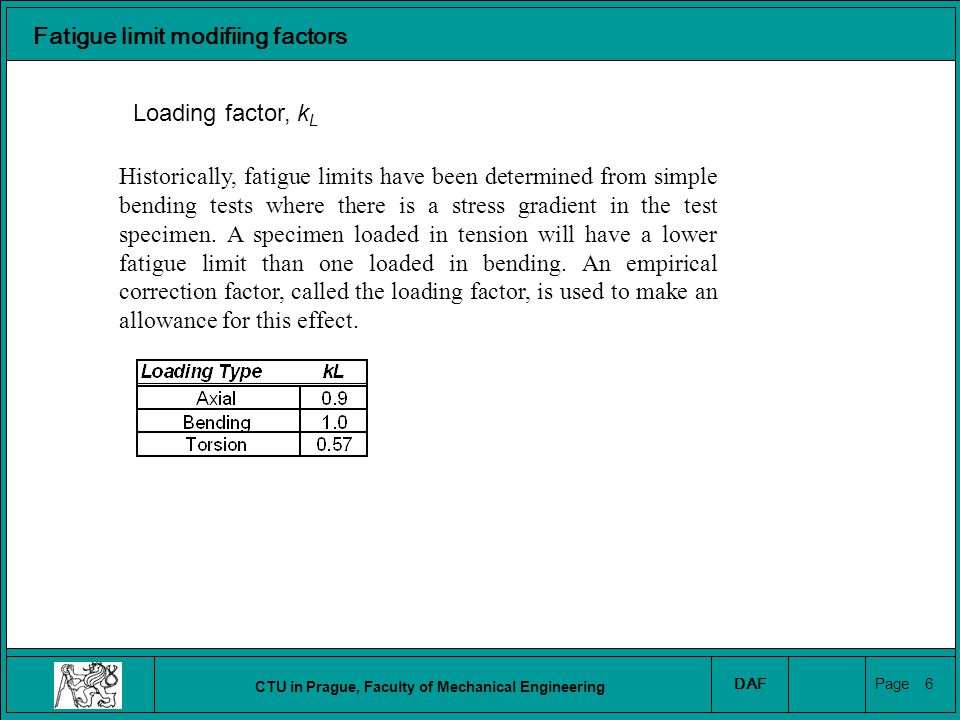 CTU in Prague, Faculty of Mechanical Engineering DAF Page 7 Fatigue limit modifiing factors Surface finish factor, k SF Fatigue limits are determined from small polished laboratory specimens.