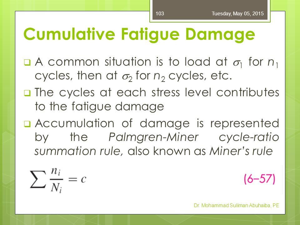 Cumulative Fatigue Damage  n i = number of cycles at stress level  i  N i = number of cycles to failure at stress level  i  c = experimentally found to be in the range 0.7 < c < 2.2, with an average value near unity  D = the accumulated damage, Dr.