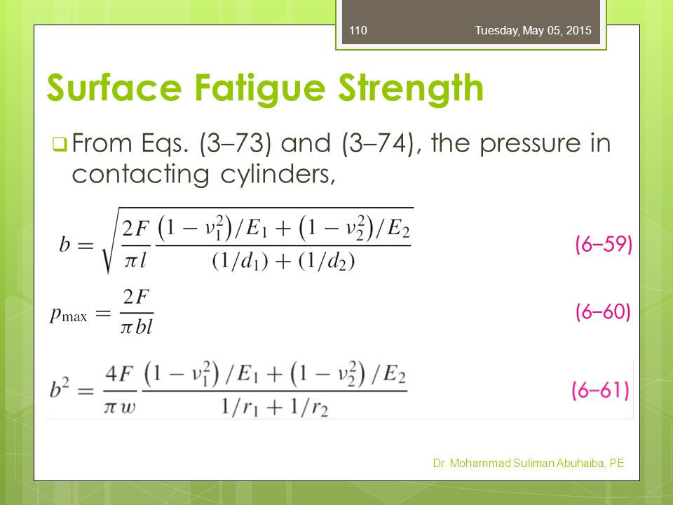  Converting to radius r and width w instead of length l,  p max = surface endurance strength (contact strength, contact fatigue strength, or Hertzian endurance strength) Dr.