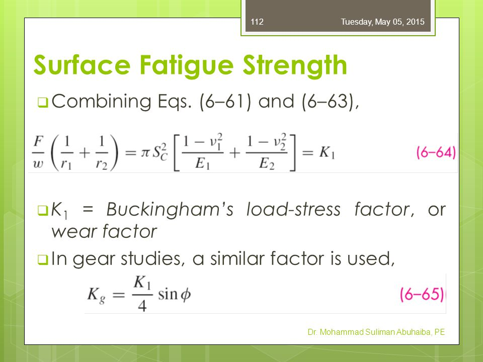 Surface Fatigue Strength  From Eq.