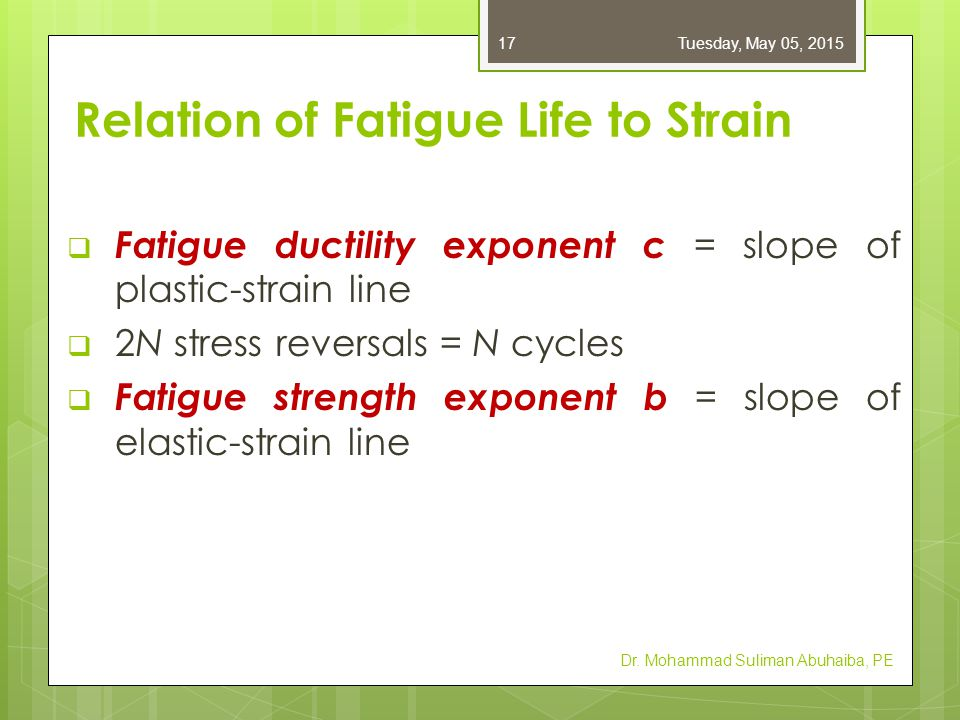  Manson-Coffin: relationship between fatigue life and total strain  Table A–23: values of coefficients & exponents  Equation has limited use for design Values for total strain at discontinuities are not readily available Dr.
