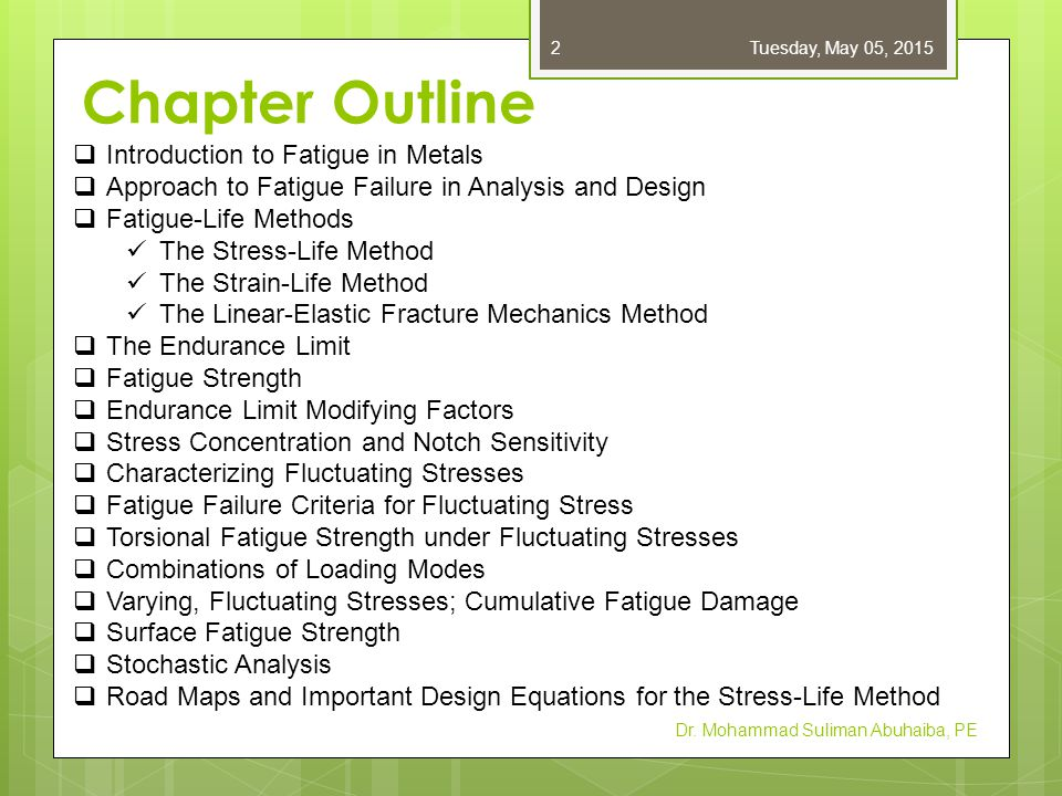 Introduction to Fatigue in Metals  Loading produces stresses that are variable, repeated, alternating, or fluctuating  Maximum stresses well below yield strength  Failure occurs after many stress cycles  Failure is by sudden ultimate fracture  No visible warning in advance of failure Dr.